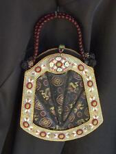 Mary Frances Black & Gold Beaded Embellished Purse Bag Handbag