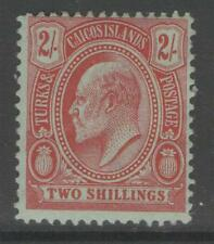 TURKS & CAICOS IS. SG125 1909 2/= RED/GREEN MTD MINT