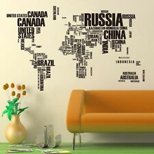 World Map Country Name Wall Stickers Decals Home Decor Art Removable Vinyl Mural
