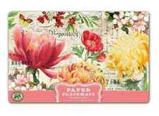 "Michel Design Works MORNING BLOSSOMS Flowers Paper Placemats, 25 Count 17""x11"""