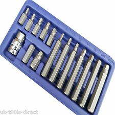 "Hex Allen Keys Set 15pc 1/2"" Drive Wrench Key Socket Bit Set Metric 4 - 12mm"