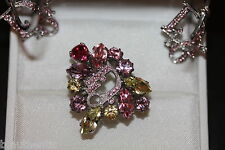 Christian Dior Multi Pink Gem Ring & Silver Hoop Earrings Pink Swarovski Crystal