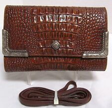*Vintage* Brigtton Moc Croc Brown Leather Wallet-Cross Body AWESOME