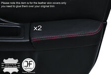 RED STCH 2X FRONT DOOR ARMREST LEATHER COVER FOR SUBARU IMPREZA WRX STI 01-04