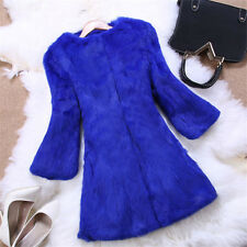 Genuine Rabbit Fur Big Fox Collar Long Jacket Coat Popular Series Outwear Vinage