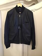 Paul Smith Men's Black  Leather With Fabric Sleeves Jacket Size M RRP £1100 New!