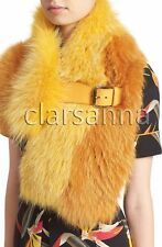 $2900 Fendi AUTH NWT Bold Bi-Color Dyed Fox Fur Leather Strap Buckle Stole Top