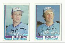 VINTAGE 1982 TOPPS BASEBALL CARDS – TORONTO BLUE JAYS – MLB