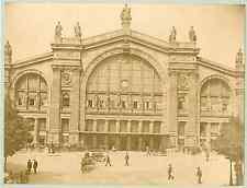 X. Phot. France, Paris, la gare du nord  vintage albumen print. Tirage albumin