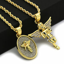 "14k Gold Plated High Fashion 2 pcs set of Angel With 2mm 30"" and 24"" Rope chain"