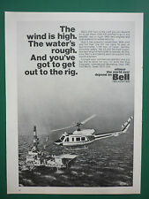 5/1974 PUB BELL HELICOPTER TEXTRON BELL 212 PLATEFORME PETROLIERE ORIGINAL AD