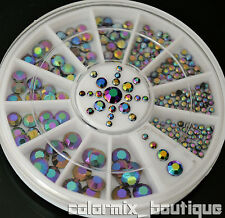 Black holographic glitter rhinestone  Nail Art Decoration Strass 5 sizes #R2