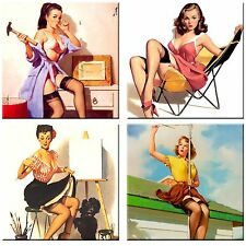 Set of 4 ceramic tile coaster drink, Vintage pin up images #3