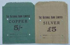 THE NATIONAL BANK LIMITED COIN BAGS PAPER £5 & 5/- UNUSED