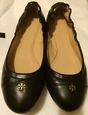 Tory Burch York Ballet Flat Shoes Black Mestico Saffiano Leather Size 9