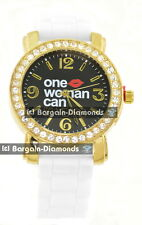 ladies One Woman Can message watch gold CZ black dial white silicone strap