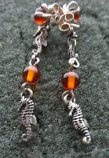 SEAHORSE  BALTIC  COGNAC   AMBER  earrings  WOMEN  #11