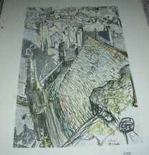 1911 VUE DE VALOGNE by George Dupuis Color Print From Chalk Drawing