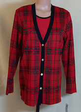 Cathy Daniels Womens Red Plaid 2 Piece Look Shirt Size Small NWT 21159