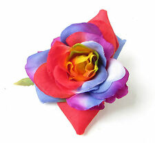 Rainbow Rose Flower Hair Clip Fascinator Rockabilly 1950s Pride Accessory 159