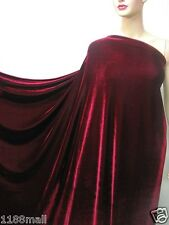 4Way Stretch Velvet Clothing Curtain Fabric Mid Red By Meters