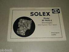 Broschüre Handbuch Descriptive Leaflet Solex 30 FAIO-2 Carburettor Vergaser