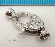 1x Rhodium plated STERLING SILVER OVAL CZ BEADING CORD END CAP CLASP #2368