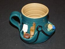 PRETTY UGLY POTTERY UNUSUAL GARDENER'S APRON GREEN MUG MADE IN WALES