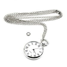 OE Antique White Dial Quartz Round Pocket Watch Necklace silver Chain Pendant