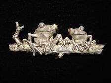 """JJ"" Jonette Jewelry Silver Pewter 'FROGS sitting on the Log' Pin"