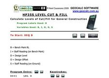 HP35S Level Cut & Fill Program for the HP 35S Scientific Calculator
