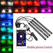 4x 12 LED 7 Colors RGB Phone App Music Control LED Strip Lights Car Interior Kit