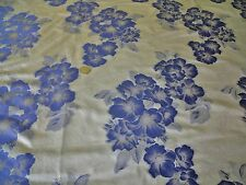FLORAL TAFETTA BROCADE-GREY/BLUE -DRESS/BRIDAL FABRIC-FREE P&P