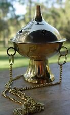 HANGING INCENSE BURNER - BRASS Wicca Pagan Witch Goth Spell Herb BRASS THURIBLE