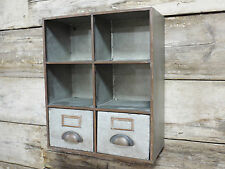 Industrial Furniture Pigeon Hole + 2 Drawers Storage Cabinet Shelving Wall Unit