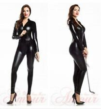 4 Way Zip Wetlook Sexy Shiny Black Stretch PVC/latex Catsuit Size 14-16 Free P&P
