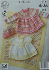 KNITTING PATTERN Baby Blanket Cardigan Jacket & Hat DK King Cole 4212