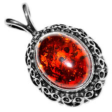 4.73g Authentic Baltic Amber 925 Sterling Silver Pendant Jewelry A1808