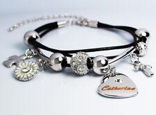 CATHERINE Cuir Charme Bracelet 18k Plaqué Or - Cristal Swarovski Élément Élégant