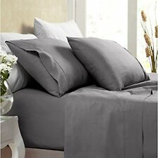 1000 Thread Count Silky BAMBOO COTTON Hybrid Blend Bed Sheet Set FULL CHARCOAL