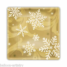 8 Elegant Gold Christmas Party Disposable Small Square Paper Plates