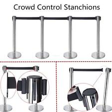 4x Retractable Stanchions /Stretch Style Crowd Control Barriers Black Belts New