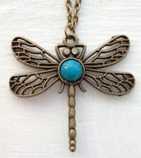 "Jewellery Gift Vintage Bronze Turquoise Dragonfly Pendent 27"" Necklace UK seller"