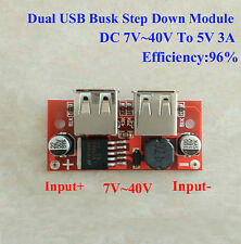 3A DC Buck Step Down Converter 7~40V 12V/24V to 5V Car Dual USB Charger Module