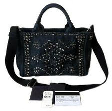 Prada Denim Blue Crystal Studded Canapa Tote 2/Way Shoulder Bag Neiman's $1390