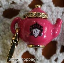 NWT Juicy Couture PINK TEAPOT CHARM Opens UP! GOLD PLATE Tag Box Retire TEA POT