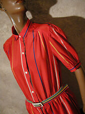 CHIC VINTAGE ROBE RAYéE 1980 VTG DRESS STRIPE 80s KLEID 80er ABITO ANNI 80 (42)