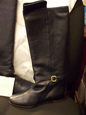 CHLOE Womens 37 US 6.5/7 Navy Blue Leather Knee High Riding Equestrian Boots EC