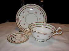 Cauldon K8624 Pink Roses w/Garland Cup, Saucer & Tea Bag Caddy ( Butter Pat )
