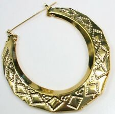 "3"" HUGE large GOLD PLT CREOLE HOOP EARRINGS giant bamboo BIG HOOPS retro/vintage"